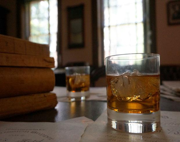 "Glasses of ""old Monongahela"" on Mr. Buchanan's library desk at Wheatland."