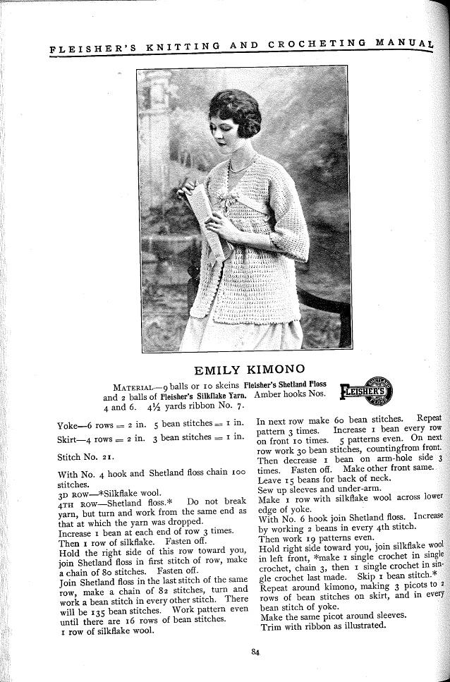 Emily Kimono pattern from Fleisher's Knitting & Crocheting Manual, 1918