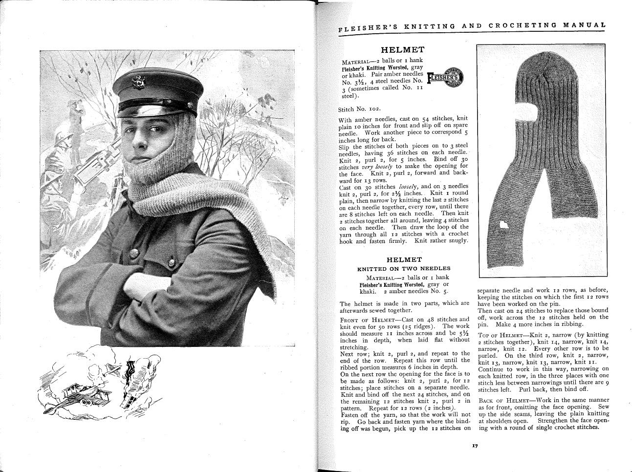 Helmet pattern from Fleisher's Knitting & Crocheting Manual, 1918
