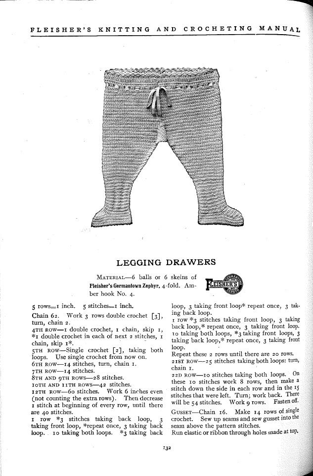 Infant legging pattern from Fleisher's Knitting & Crocheting Manual, 1918
