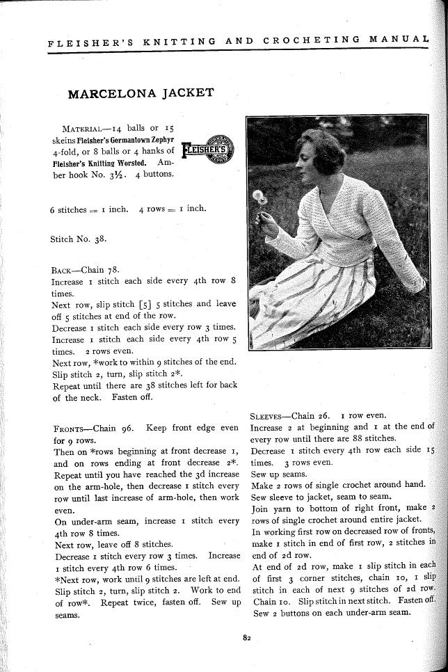 Marcelona Jacket pattern from Fleisher's Knitting & Crocheting Manual, 1918